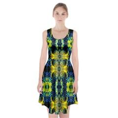 Mystic Yellow Green Ornament Pattern Racerback Midi Dress