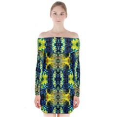 Mystic Yellow Green Ornament Pattern Long Sleeve Off Shoulder Dress