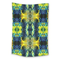 Mystic Yellow Green Ornament Pattern Large Tapestry