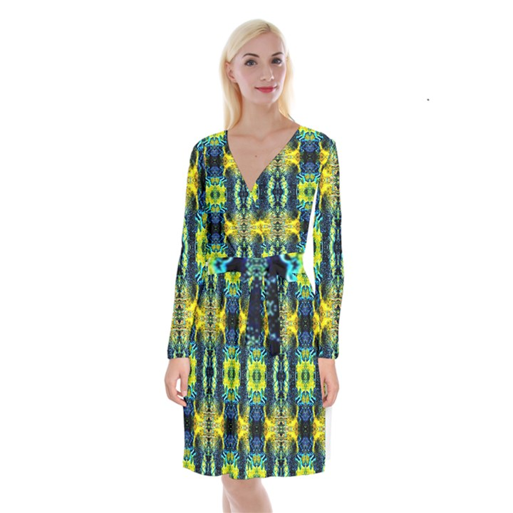 Mystic Yellow Green Ornament Pattern Long Sleeve Velvet Front Wrap Dress