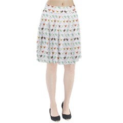 Assorted Birds Pattern Pleated Skirt