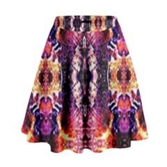 Mystic Red Blue Ornament Pattern High Waist Skirt