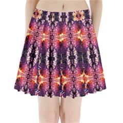Mystic Red Blue Ornament Pattern Pleated Mini Skirt