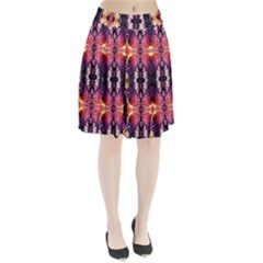 Mystic Red Blue Ornament Pattern Pleated Skirt