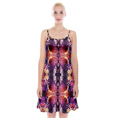 Mystic Red Blue Ornament Pattern Spaghetti Strap Velvet Dress