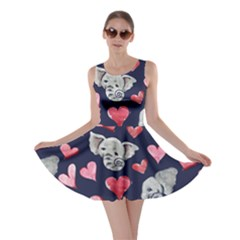 Elephant Lover Hearts Elephants Skater Dress