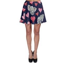 Elephant Lover Hearts Elephants Skater Skirt