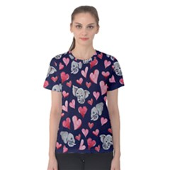 Elephant Lover Hearts Elephants Women s Cotton Tee