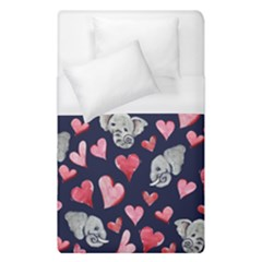 Elephant Lover Hearts Elephants Duvet Cover (single Size)
