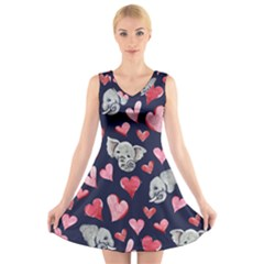 Elephant Lover Hearts Elephants V Neck Sleeveless Dress