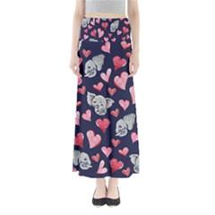 Elephant Lover Hearts Elephants Full Length Maxi Skirt