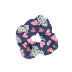 Elephant Lover Hearts Elephants Velvet Scrunchie