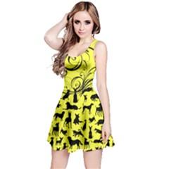 Yellow Dog Pattern Reversible Sleeveless Dress
