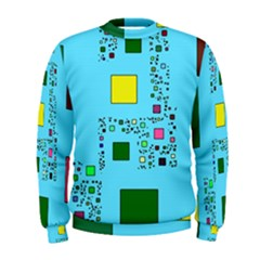 Squares on a blue background             Men s Sweatshirt