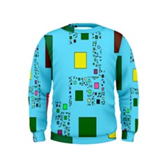 Squares On A Blue Background             Kid s Sweatshirt