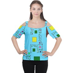 Squares on a blue background            Women s Cutout Shoulder Tee