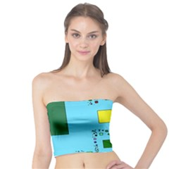 Squares on a blue background       Women s Tube Top