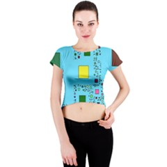 Squares on a blue background            Crew Neck Crop Top