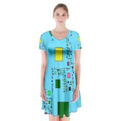 Squares on a blue background                Short Sleeve V-neck Flare Dress