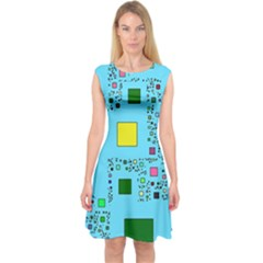 Squares on a blue background            Capsleeve Midi Dress