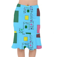 Squares On A Blue Background                Short Mermaid Skirt