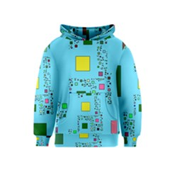 Squares on a blue background            Kid s Pullover Hoodie