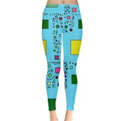 Squares on a blue background            Leggings