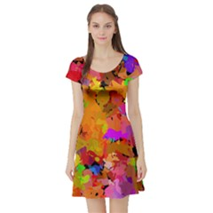Colorful shapes             Short Sleeve Skater Dress