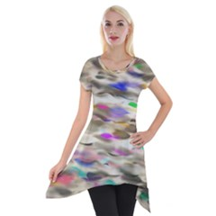 Colorful Watercolors           Short Sleeve Side Drop Tunic