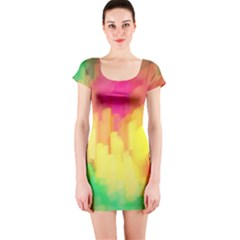 Pastel shapes painting            Short sleeve Bodycon dress