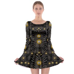 Lace Of Pearls In The Earth Galaxy Pop Art Long Sleeve Skater Dress