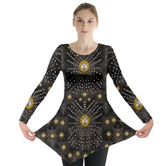 Lace Of Pearls In The Earth Galaxy Pop Art Long Sleeve Tunic