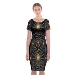 Lace Of Pearls In The Earth Galaxy Pop Art Classic Short Sleeve Midi Dress