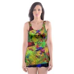 Green paint             Skater Dress Swimsuit