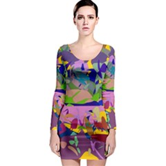Shapes in retro colors              Long Sleeve Bodycon Dress
