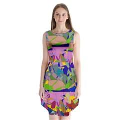 Shapes in retro colors         Sleeveless Chiffon Dress