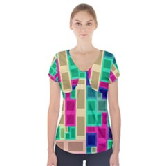 Rectangles and squares                 Short Sleeve Front Detail Top