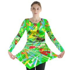 Colorful painting on a green background              Long Sleeve Tunic