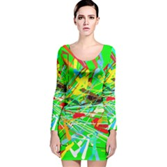 Colorful painting on a green background              Long Sleeve Velvet Bodycon Dress