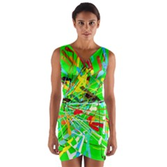 Colorful painting on a green background                 Wrap Front Bodycon Dress