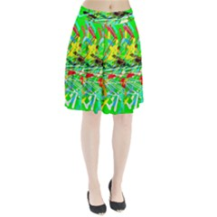 Colorful painting on a green background          Pleated Skirt