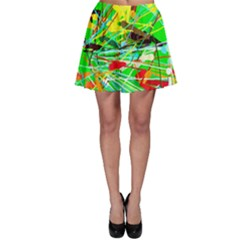 Colorful painting on a green background              Skater Skirt