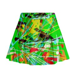 Colorful painting on a green background                Mini Flare Skirt