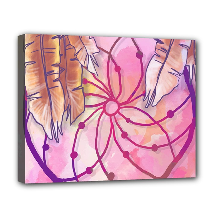 Watercolor cute dreamcatcher with feathers background Deluxe Canvas 20  x 16
