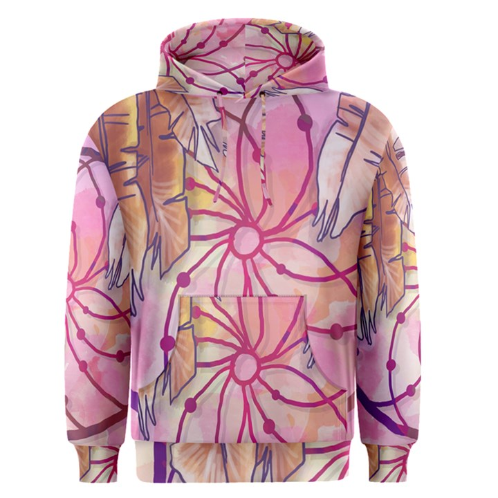 Watercolor cute dreamcatcher with feathers background Men s Pullover Hoodie