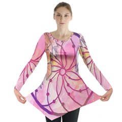 Watercolor cute dreamcatcher with feathers background Long Sleeve Tunic