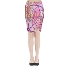 Watercolor Cute Dreamcatcher With Feathers Background Midi Wrap Pencil Skirt