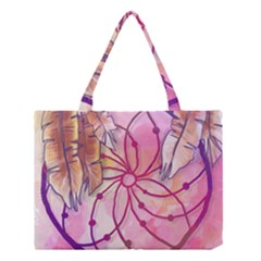 Watercolor Cute Dreamcatcher With Feathers Background Medium Tote Bag