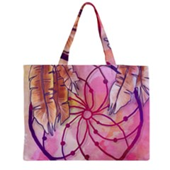 Watercolor Cute Dreamcatcher With Feathers Background Medium Zipper Tote Bag