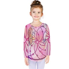 Watercolor Cute Dreamcatcher With Feathers Background Kids  Long Sleeve Tee